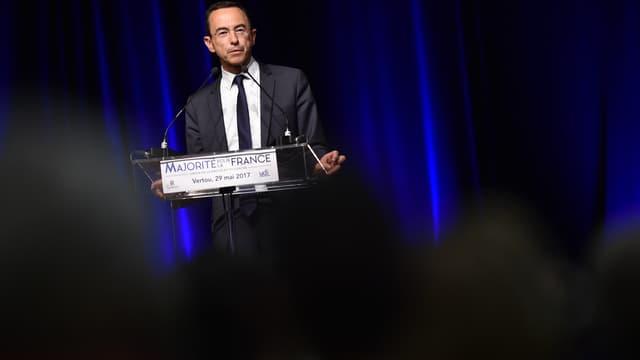 Le président du groupe Les Républicains au Sénat Bruno Retailleau, lors d'un discours à Vertou, près de Nantes, le 29 mai 2017.