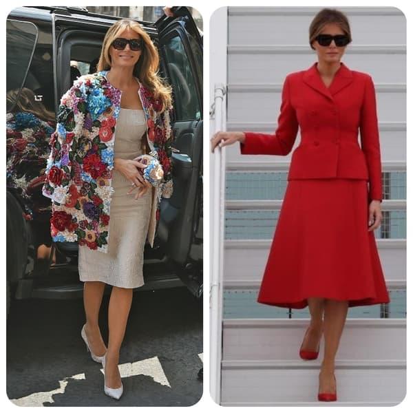 Melania Trump en Dolce & Gabbana (à gauche) et en Dior (à droite)