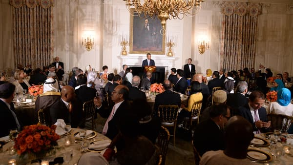Barack Obama fait un discours lors du dîner d'iftar de la Maison Blanche, le 15 juillet 2014.