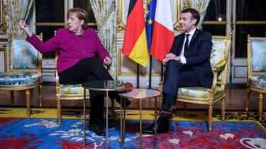 Angela Merkel et Emmanuel Macron à l'Elysée, le 19 janvier 2018.