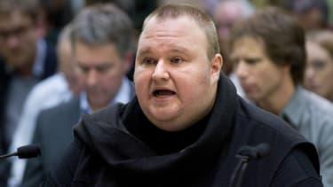 Kim Schmitz alias Kim Dotcom lors de son audience face au Premier ministre néo-zélandais, le 3 juillet 2013.