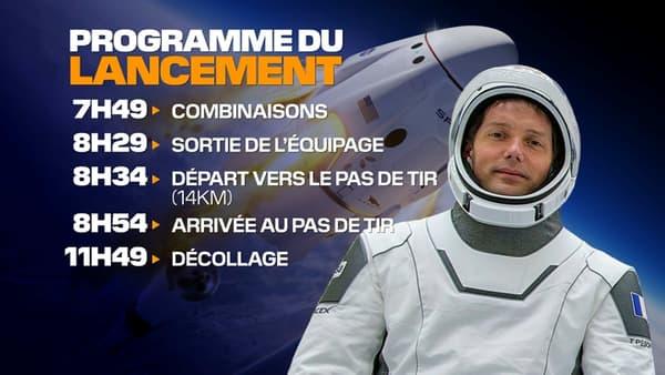 Le programme du décollage de Thomas Pesquet.