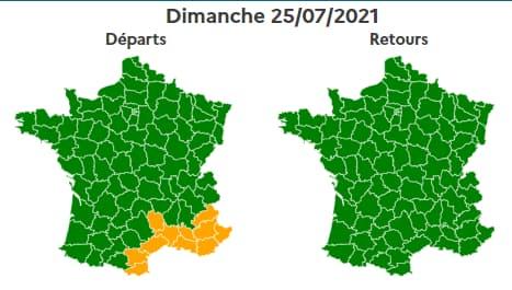 La journée sera verte dimanche, avec une partie Sud de la France en orange dans le sens des départs.