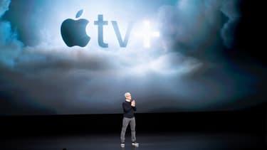 Tim Cook lors de la présentation d'Apple TV+, le 25 mars 2019 à Cupertino.
