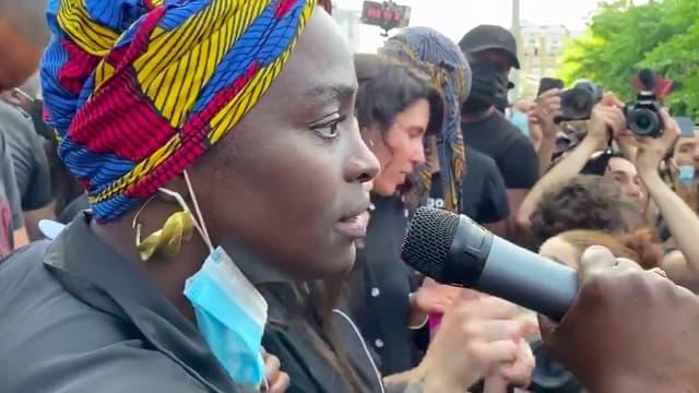 Aïssa Maïga le 2 juin lors du rassemblement pour Adama Traoré