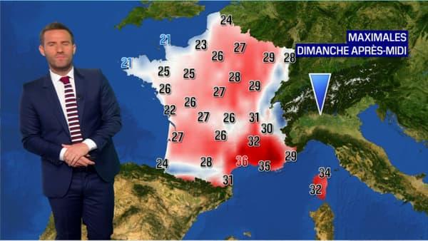 Les températures attendues dimanche 2 août.