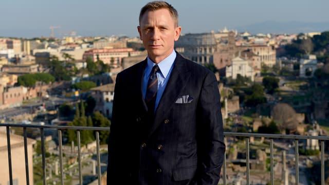 """L'acteur Daniel Craig lors de la promotion du nouveau volet de la saga James Bond, """"007 Spectre"""", en Italie en février 2015"""