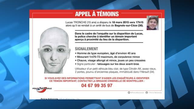 La police nationale recherche un témoin dans l'affaire de la disparition de Lucas Tronche.