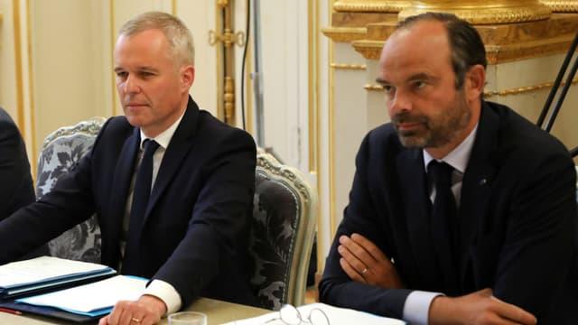 François de Rugy et Édouard Philippe au conseil des ministres