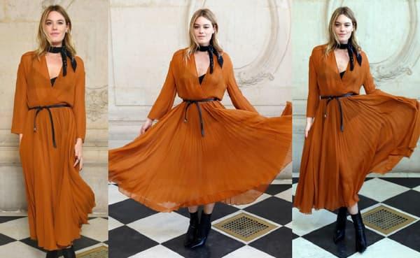 Le look de Camille Rowe au défilé Dior
