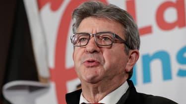 Jean-Luc Mélenchon commente les résultats de son parti le soir des élections européennes, le 26 mai 2019