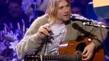 Kurt Cobain pendant l'enregistrement de la fameuse session MTV Unplugged à New York, en 1993.