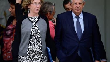 Muriel Pénicaud, la ministre du Travail et Jacques Mezard, ministre de la Cohésion des territoires.