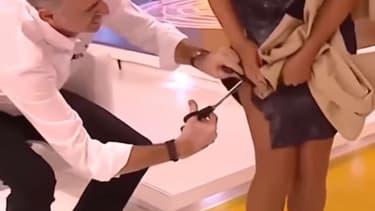 Un présentateur espagnol a découpé la robe de sa collègue en direct