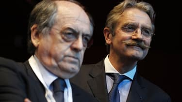 Noël Le Graët (à gauche), le président de la FFF, en compagnie de Frédéric Thiriez, l'ancien président de la LFP.