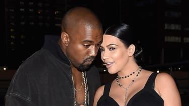 Kim Kardashian et Kanye West à la fashion week New York le 11 septembre 2015.