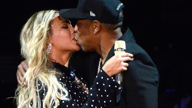 Beyoncé et Jay Z lors d'un concert en novembre 2016