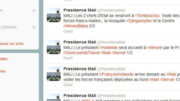 """Les tweets du compte """"Présidence Mali"""" présentant les détails du déplacement de François Hollande sont désormais indisponibles."""