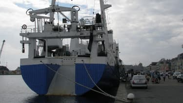 """Un """"bateau usine"""" dans le port de Saint-Malo."""