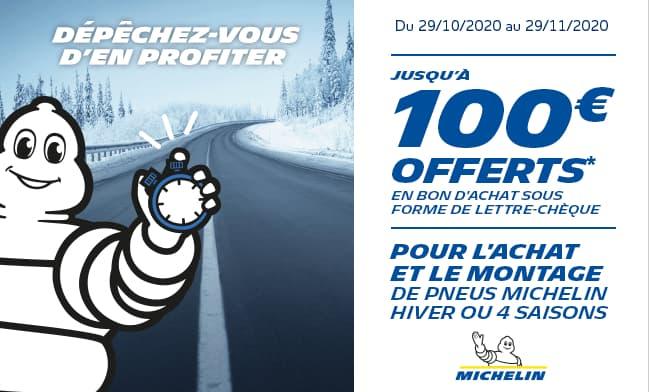 Jusqu'à 100 € offerts sur les pneus Michelin