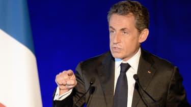 Nicolas Sarkozy lors du meeting à Bordeaux samedi, au cours duquel des militants ont hué Alain Juppé.