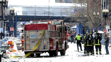 Les pompiers de Boston sur les lieux du drame, le 15 avril dernier.
