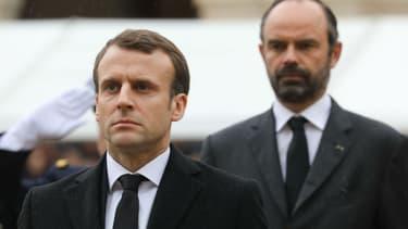 Emmanuel Macron et Edouard Philippe à une cérémonie en hommage au colonel Arnaud Beltrame, le 28 mars 2018.
