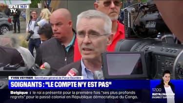 """Soignants: le Secrétaire général de Force ouvrière Yves Veyrier affirme que """"le compte n'y est pas"""" dans les réponses du gouvernement"""