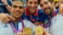 Daniel Narcisse, Renaud Lavillenie et Nikola Karabatic, trois Français en or