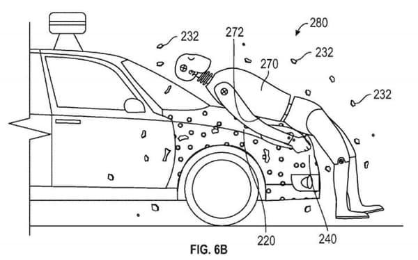 Tirée du brevet déposé par Google, ce schéma montre comment le piéton est supposé rester accroché au véhicule en cas de collision.