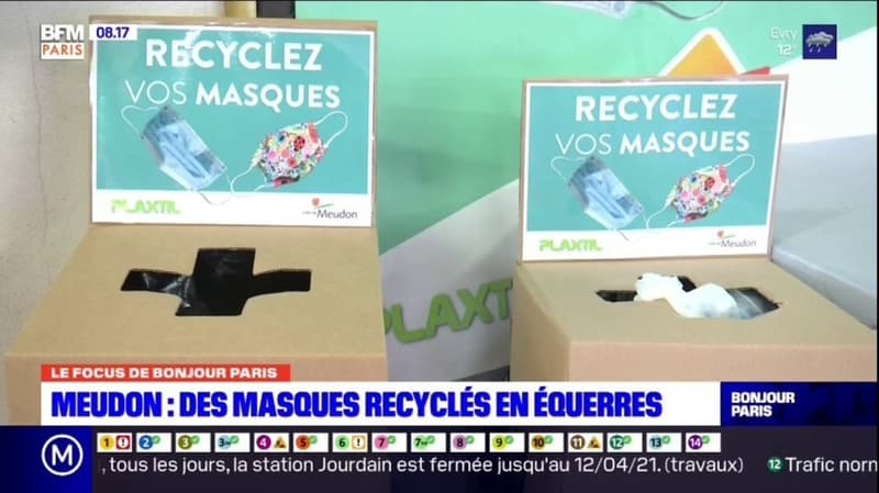 Meudon: des masques chirurgicaux recyclés en équerres pour les écoliers