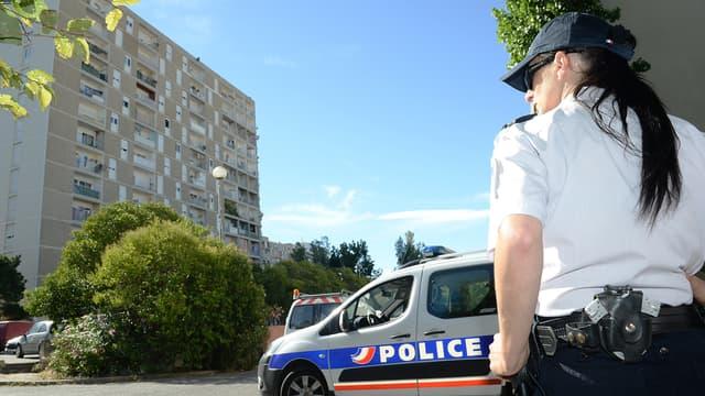 Une patrouille de police dans le quartier des Oliviers à Marseille - Image d'illustration