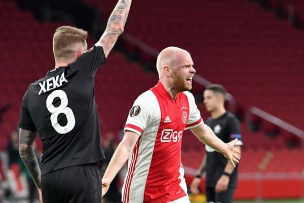 La joie du milieu de terrain de l'Ajax Amsterdam, Davy Klaassen, après avoir ouvert le score contre Lille, lors du 16e de finale retour de la Ligue Europa, le 25 février à Amsterdam