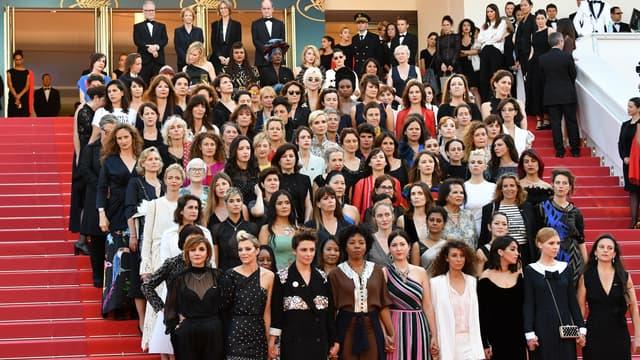 82 femmes issues du monde du cinéma sur les marches de Cannes, le 12 mai 2018