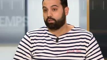 L'humoriste Yassine Belattar sur le plateau de BFMTV, le 27 mai 2018.