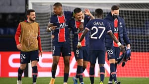 Les joueurs du PSG après la qualification en demi-finales de Ligue des champions contre le Bayern Munich, le 13 avril 2021