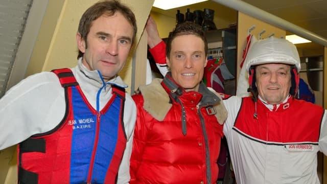 Sylvain Chavanel entouré des drivers de légende Jean-Michel Bazire et Jos Verbeeck