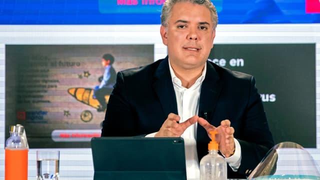 Le président colombien  Ivan Duque, lors d'un discours à la télévision le 3 mai 2020