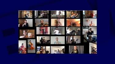 26 musiciens de l'Orchestre national de Lyon rassemblés dans une vidéo. -
