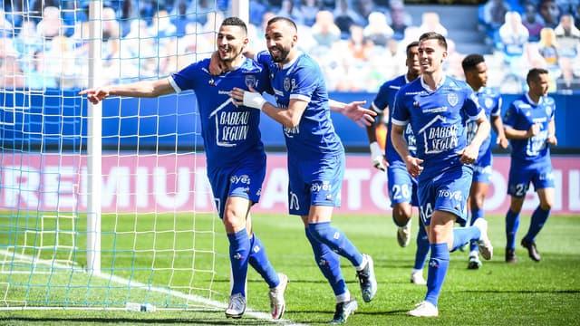 Les joueurs de l'Estac, à Troyes le 24 avril 2021
