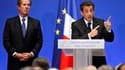 Discours de Nicolas Sarkozy lundi au siège du Conseil constitutionnel, en compagnie du président de l'institution, Jean-Louis Debré (à gauche). Le chef de l'Etat a qualifié de révolution juridique la nouvelle possibilité pour les justiciables de saisir le