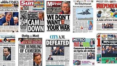 La presse Britannique s'en prend de façon virulente à l'échec parlementaire du Premier ministre conservateur.