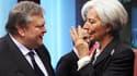 Le ministre grec des Finances, Evangelos Venizelos, s'entretient avec la directrice générale du FMI, Christine Lagarde, en ouverture de la réunion des ministres des Finances, vendredi à Bruxelles. Les ministres entament six jours de négociations en espéra