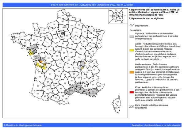 Carte des arrêtés de restrictions d'eau au 28/04/2021