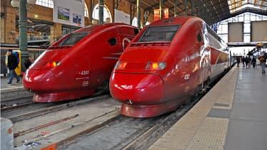 Deux trains à grande vitesse Thalys à la gare du Nord, en 2013 à Paris. (Illustration)
