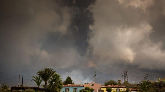 Une colonne de fumée provoquée par l'éruption du volcan Cumbre Vieja ce vendredi aux Canaries.