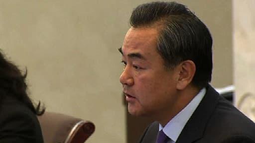 Le ministre des Affaires étrangères chinois Wang Yi, lors d'une rencontre avec son homologue français, dimanche à Pékin.