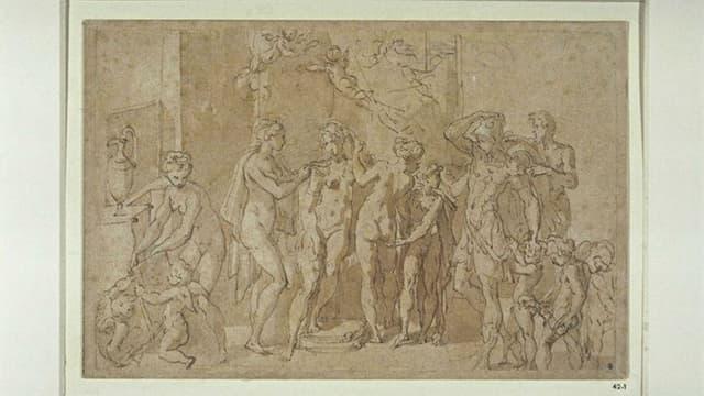 """""""Les Noces d'Alexandre et Roxe"""" attribué à Francesco Mazzuola (1503-1540)"""