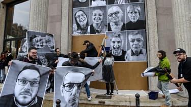 Des portraits géants des 150 citoyens et citoyennes de la Convention pour le climat réalisés par l'artiste JR et affichés au palais d'Iéna, à  Paris, au siège du Conseil économique, social et environnemental