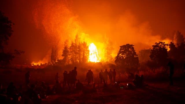 Les incendies sur l'île d'Eubée en Grèce, lundi 9 août 2021, à Istaia (photo d'illustration)